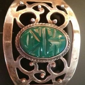 Hinged Panel Bracelet Vtg Sterling Silver Jade